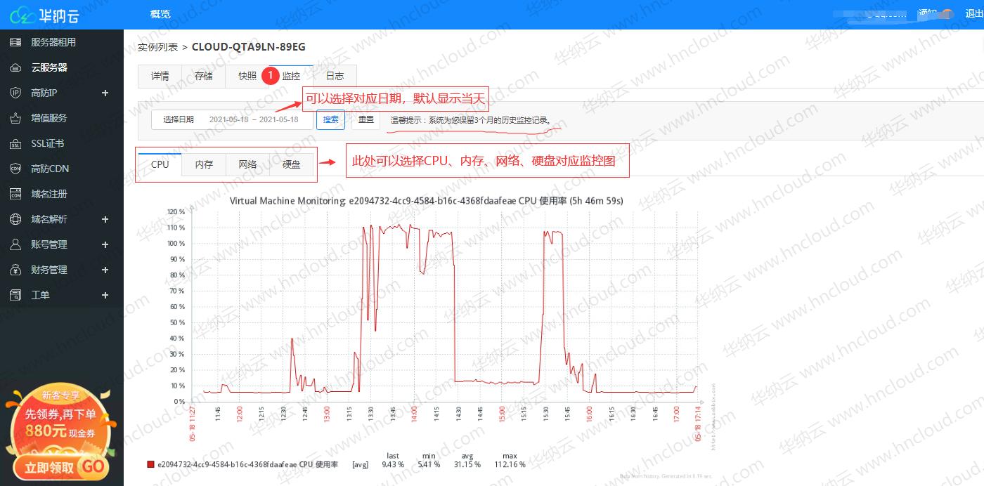 云服务器自助查看cpu/内存/网络/磁盘使用率